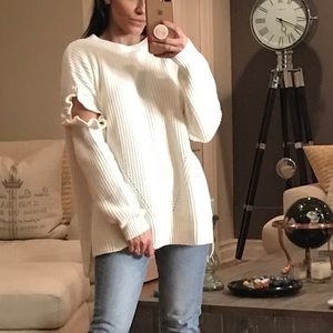"""Sweaters - CELEBRATE """"Ivory"""" LS Cut-out Frilled Sweater"""